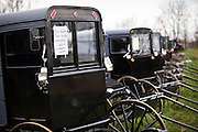 Dozens of Amish buggies ready for auction during the Annual Mud Sale to support the Fire Department  in Gordonville, PA.
