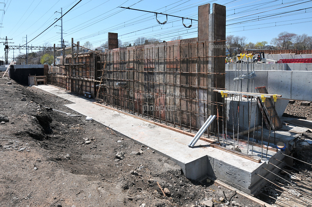 Platform forms ready for Concrete Pour. Construction Progress Photography of the Railroad Station at Fairfield Metro Center - Site visit 10 of once per month Chronological Documentation.