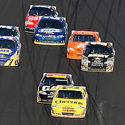 Sprint Cup Series driver Clint Bowyer (33) leads the packs of 2 as they race during the Daytona 500 at Daytona International Speedway on February 20, 2011 in Daytona Beach, Florida. (AP Photo/Alex Menendez)