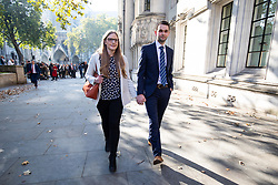 "© Licensed to London News Pictures. 10/10/2018. London, UK. Daniel and Amy McArthur, owners of Ashers Bakery in Belfast, leave The Supreme Court. Today the Supreme Court ruled that they did not discriminate against a customer by refusing to decorate a cake with the slogan ""Support Gay Marriage"". The case has become known as the 'gay cake' case. Photo credit : Tom Nicholson/LNP"