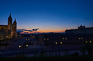 Nuestra Senora de la Almudena and Royal Palace during the confinement due to the national emergency caused by Covid-19 on April 12, 2020 in Madrid, Spain  <br /> The day before workers on Spain they return theirs non-essential works