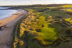 Aerial view of Kingsbarns links golf course outside St Andrews in Fife, Scotland, UK