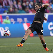 Chris Korb, D.C. United, in action during the New York Red Bulls Vs D.C. United Major League Soccer regular season match at Red Bull Arena, Harrison, New Jersey. USA. 22nd March 2015. Photo Tim Clayton