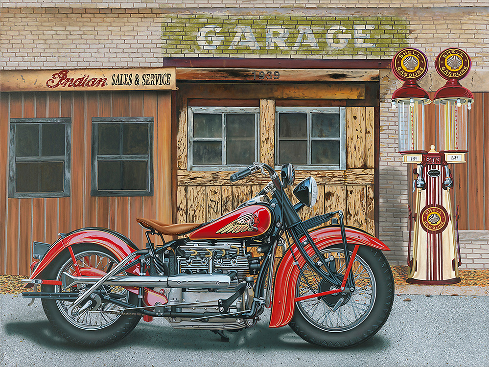 """""""Indian 4 Life""""<br /> Painting by Scott Jacobs 2019<br /> <br /> This painting was commissioned for one Scotts big collectors depicting his 1939 Indian 4."""