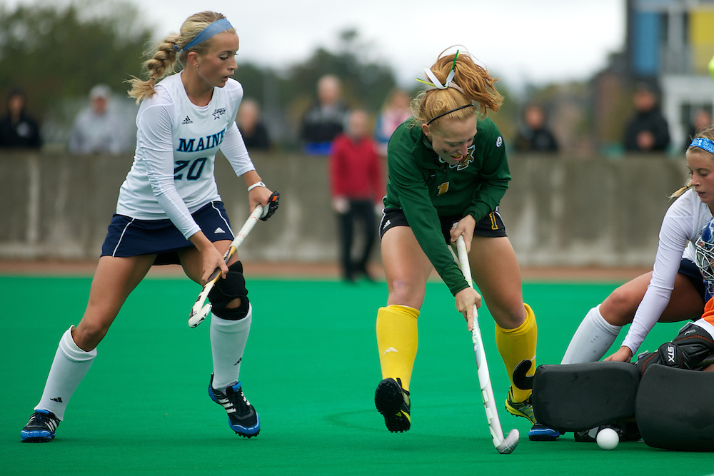 Catamounts forward Ashley McDonald (1) in action during the women's field hockey game between the Maine Black Bears and the Vermont Catamounts at Moulton/Winder Field on Saturday afternoon September 29, 2012 in Burlington, Vermont.