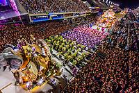 Floats in the Carnaval parade of GRES Estacao Primeira de Mangueira samba school in the Sambadrome, Rio de Janeiro, Brazil.
