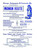 Ad for Monon route 1897 Appeared in a monthly magazine called 'Birds : illustrated by color photography' a monthly serial. Knowledge of Bird-life in 1897. The Monon Railroad (reporting mark MON), also known as the Chicago, Indianapolis, and Louisville Railway (reporting mark CIL) from 1897 to 1956, was an American railroad that operated almost entirely within the state of Indiana.