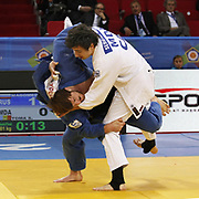 Rusia's Sirazhudin MAGOMEDOV (L) and MDA's Sergiu TOMA (R) during their men's 81 kg. category bout at the European Judo Championships in the Abdi Ipekci Arena, Istanbul, Turkey on 22 April 2011. Photo by TURKPIX