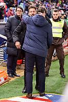 Atletico de Madrid's coach Diego Pablo Simeone and Celta de Vigo's coach Eduardo Berizzo during La Liga match between Atletico de Madrid and Celta de Vigol at Vicente Calderon Stadium in Madrid, Spain. December 03, 2016. (ALTERPHOTOS/BorjaB.Hojas)