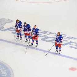 May 14, 2012: The New York Rangers starting line stands during the Star Spangled Banner prior game 1 of the NHL Eastern Conference Finals between the New Jersey Devils and New York Rangers at Madison Square Garden in New York, N.Y.