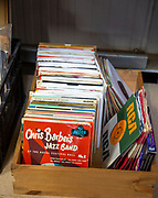 Box of vinyl music record singles on sale at auction - Chris Barber's jazz band on Decca label