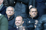 Jose Mourinho, the Manchester Utd manager (l) looks on as he sits in the stands after his touchline ban. Premier league match, Swansea city v Manchester Utd at the Liberty Stadium in Swansea, South Wales on Sunday 6th November 2016.<br /> pic by  Andrew Orchard, Andrew Orchard sports photography.