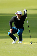 February 16th 2017, Lake Karrinyup Country Club, Perth, Western Australia, Australia; ISPS Handa World Super 6 Perth Golf Tournament Day 1; Thorbjorn Olesen (Den) watches his shot on the 11th fairway during the first round of the ISPS Handa World Super 6 Golf Tournament;