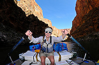 River guide rowing, Whitewater rafting trip (oar trip) on the Colorado River in Grand Canyon, Grand Canyon National Park, Arizona USA