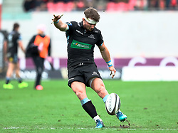 Glasgow Warriors' Peter Horne kicks at goal<br /> <br /> Photographer Simon King/Replay Images<br /> <br /> Guinness PRO14 Round 19 - Scarlets v Glasgow Warriors - Saturday 7th April 2018 - Parc Y Scarlets - Llanelli<br /> <br /> World Copyright © Replay Images . All rights reserved. info@replayimages.co.uk - http://replayimages.co.uk