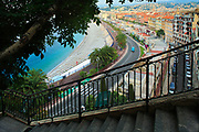 Promenade des Anglais from above; Nice, France.<br /> .....<br /> Nice is the fifth most populous city in France, after Paris, Marseille, Lyon and Toulouse, and it is the capital of the Alpes Maritimes département. The urban area of Nice extends beyond the administrative city limits with a population of about 1 million on an area of 278 sq mi. Located on the south east coast of France on the Mediterranean Sea, Nice is the second-largest French city on the Mediterranean coast and the second-largest city in the Provence-Alpes-Côte d'Azur region after Marseille.<br /> <br /> The city is called Nice la Belle, which means Nice the Beautiful, which is also the title of the unofficial anthem of Nice, written by Menica Rondelly in 1912. The area of today's Nice contains Terra Amata, an archaeological site which displays evidence of a very early use of fire. Around 350 BC, Greeks of Marseille founded a permanent settlement and called it Nikaia, after Nike, the goddess of victory. Through the ages, the town has changed hands many times. Its strategic location and port significantly contributed to its maritime strength. For years it was a dominion of Savoy, then became part of France between 1792 and 1815, when it was returned to Piedmont-Sardinia until its reannexation by France in 1860.<br /> <br /> The natural beauty of the Nice area and its mild Mediterranean climate came to the attention of the English upper classes in the second half of the 18th century, when an increasing number of aristocratic families took to spending their winter there. The city's main seaside promenade, the Promenade des Anglais ('the Walkway of the English') owes its name to the earliest visitors to the resort. For decades now, the picturesque Nicean surroundings have attracted not only those in search of relaxation, but also those seeking inspiration. The clear air and soft light has been of particular appeal to some of Western culture's most outstanding painters, such as Marc Chagall, Henri Matisse, Niki de Saint Phalle and Arm