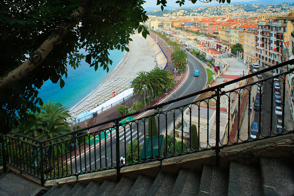 Promenade des Anglais from above; Nice, France.<br /> .....<br /> Nice is the fifth most populous city in France, after Paris, Marseille, Lyon and Toulouse, and it is the capital of the Alpes Maritimes département. The urban area of Nice extends beyond the administrative city limits with a population of about 1 million on an area of 278 sq mi. Located on the south east coast of France on the Mediterranean Sea, Nice is the second-largest French city on the Mediterranean coast and the second-largest city in the Provence-Alpes-Côte d'Azur region after Marseille.<br /> <br /> The city is called Nice la Belle, which means Nice the Beautiful, which is also the title of the unofficial anthem of Nice, written by Menica Rondelly in 1912. The area of today's Nice contains Terra Amata, an archaeological site which displays evidence of a very early use of fire. Around 350 BC, Greeks of Marseille founded a permanent settlement and called it Nikaia, after Nike, the goddess of victory. Through the ages, the town has changed hands many times. Its strategic location and port significantly contributed to its maritime strength. For years it was a dominion of Savoy, then became part of France between 1792 and 1815, when it was returned to Piedmont-Sardinia until its reannexation by France in 1860.<br /> <br /> The natural beauty of the Nice area and its mild Mediterranean climate came to the attention of the English upper classes in the second half of the 18th century, when an increasing number of aristocratic families took to spending their winter there. The city's main seaside promenade, the Promenade des Anglais ('the Walkway of the English') owes its name to the earliest visitors to the resort. For decades now, the picturesque Nicean surroundings have attracted not only those in search of relaxation, but also those seeking inspiration. The clear air and soft light has been of particular appeal to some of Western culture's most outstanding painters, such as Marc Chagall, Henri Matis