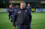 AFC Wimbledon manager Wally Downes during the EFL Sky Bet League 1 match between AFC Wimbledon and Plymouth Argyle at the Cherry Red Records Stadium, Kingston, England on 26 December 2018.