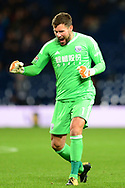 Ben Foster , the goalkeeper of West Bromwich Albion celebrates after his side scores their 1st goal to make it 1-1 .Carabao Cup 3rd round match, West Bromwich Albion v Manchester City at the Hawthorns stadium in West Bromwich, Midlands on Wednesday 20th September 2017. pic by Bradley Collyer, Andrew Orchard sports photography.