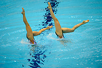 London, England, 22-04-12. Pamela FISHER and Anja NYFFELER (SUI) in the FINA Synchronised Swimming Qualifications
