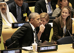 September 20, 2016 - New York, New York, United States of America - United States President Barack Obama (L) speaks with Samantha Power, United States Ambassador to the United Nations, at a Leaders Summit for Refugees during the United Nations 71st session of the General Debate at the United Nations General Assembly at United Nations headquarters in New York, New York, USA, 20 September 2016..Credit: Peter Foley / Pool via CNP (Credit Image: © Peter Foley/CNP via ZUMA Wire)