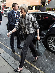 © Licensed to London News Pictures. 09/04/2016. London, UK.  Home secretary THERESA MAY arrives for the Conservative Party Spring Forum in central London.  Conservative party leader and British prime minster David Cameron has come under pressure after it was revealed that he had  investment in an offshore fund.  Photo credit: Ben Cawthra/LNP