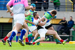 during rugby match between National team of Slovenia (green) and Bulgaria (white) at EUROPEAN NATIONS CUP 2012-2014 of C group 2nd division, on April 12, 2014, at ZAK Stadium, Ljubljana, Slovenia. (Photo by Matic Klansek Velej / Sportida.com)