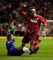 Photo: Jed Wee, Digitalsport<br /> Liverpool v Chelsea. UEFA Champions League.<br /> 28/09/2005.<br /> <br /> <br /> Liverpool's Dietmar Hamann (R) is fouled by Chelsea's Ricardo Carvalho.