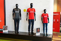 LIVERPOOL, ENGLAND - Monday, August 3, 2020: Liverpool's new 2020/21 Nike home and away shirts on display in the LFC retail store at Anfield. Liverpool's new kit supplier Nike replaces New Balance in a five year deal reported to be worth $39.5 per year. (Pic by David Rawcliffe/Propaganda)