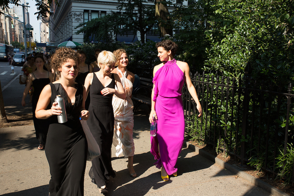 Dancers near Madison Square Park on their way to the Flatiron Building.