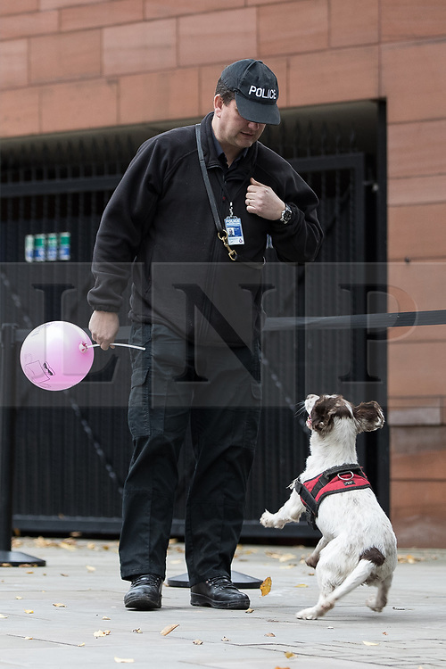 © Licensed to London News Pictures . 06/12/2017 . Manchester , UK . Security searches at Manchester Central Convention Centre ahead of a visit by the Duke And Duchess Of Cambridge, Prince William and Kate Middleton, at the Children's Global Media Summit . Photo credit : Joel Goodman/LNP