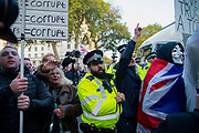 On the day that the UK was scheduled to leave the European Union, pro leave demonstrators voice their frustration outside Downing Street in London, United Kingdom on 31st October 2019. A further extension has been granted until 31st January 2020 and a general election has been called, in a bid to break the Parliamentary deadlock.