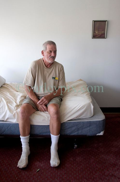 03 Sept  2005. New Orleans, Louisiana. Post hurricane Katrina.<br /> Shocked residents of the St Christopher's Inn retirement home were abandoned by their carers on the eve of the storm and left to fend for themselves. Running low on food and water Louis Sonier tried his best to remain calm before residents were rescued six days later by New Orleans 8th district police.<br /> Photo Credit ©: Charlie Varley/varleypix.com