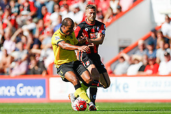 Gabriel Agbonlahor of Aston Villa under pressure from Simon Francis of AFC Bournemouth - Mandatory by-line: Jason Brown/JMP - Mobile 07966 386802 08/08/2015 - FOOTBALL - Bournemouth, Vitality Stadium - AFC Bournemouth v Aston Villa - Barclays Premier League - Season opener