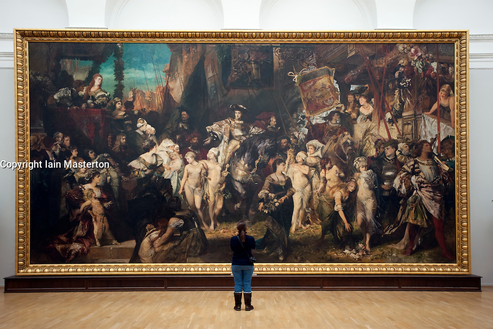 """Painting """"The Entrance of Emperor Charles V (1500-58) into Antwerp in 1520"""" by Hans Makart at Kunsthalle art gallery in Hamburg Germany"""