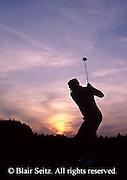 Golf, Pennsylvania Outdoor recreation, Male Golf Player Tees Off in Sunset