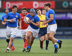 Italys Gianmarco Lucchesi in Action<br /> Photographer Mike Jones/Replay Images<br /> <br /> Wales U18s v Italy U18s<br /> Six Nations, Sunday 8th April 2018, <br /> Cardiff Arms Park, Cardiff, <br /> <br /> World Copyright © Replay Images . All rights reserved. info@replayimages.co.uk - http://replayimages.co.uk