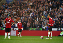 Manchester United's Cristiano Ronaldo (right) and Bruno Fernandes stand dejected during the Premier League match at the King Power Stadium, Leicester. Picture date: Saturday October 16, 2021.