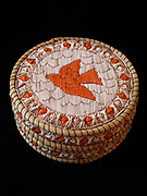 Large Ojibwa (Chippewa) birchbark and sweetgrass basket with flying dove design made with porcupine quills, Great Lakes region.