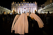 Nuns from South America pray after a new Pope was selected in St. Peter's Square during the second day of conclave and the selection of the new Pope in Vatican City, March 13, 2013. The new Pope is Cardinal Jorge Mario Bergoglio of Argentina. He is the 266th leader of the Catholic Church. He will be called Pope Francis.Photograph by Todd Korol
