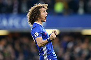 David Luiz of Chelsea celebrating after Ngolo Kante of Chelsea scores a goal to make it 4-0.  Premier league match, Chelsea v Manchester Utd at Stamford Bridge in London on Sunday 23rd October 2016.<br /> pic by John Patrick Fletcher, Andrew Orchard sports photography.