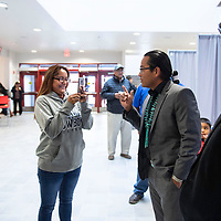 Tisha Yazzie asks Buu Nygren and Joe Shirley Jr. to make a short video to send her mom who was unable to attend the Navajo Nation Presidential Candidates Debate Tuesday, Oct. 16, 2018 at Navajo Technical University in Crownpoint.