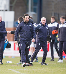 Dundee's manager Paul Hartley at the end. <br /> Dundee 1 v 1 Inverness Caledonian Thistle, SPFL Ladbrokes Premiership game played at Dens Park, 27/2/2016.