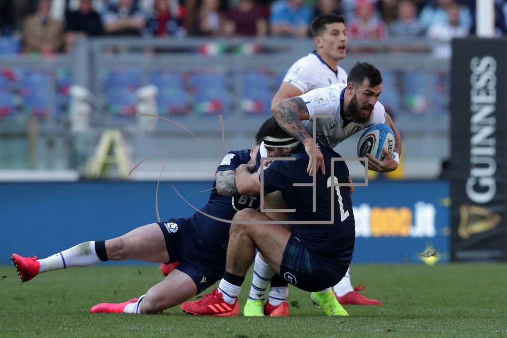 Roma 22/02/2020 Stadio Olimpico<br /> Guinness 6 nations 2020 : Italia vs Scozia<br /> Jayden Hayward placcato da Stuart McInally