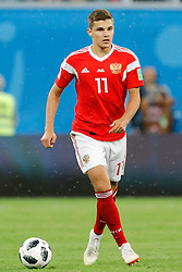 June 19, 2018 - Saint Petersburg, Russia - Roman Zobnin of Russia national team during the 2018 FIFA World Cup Russia group A match between Russia and Egypt on June 19, 2018 at Saint Petersburg Stadium in Saint Petersburg, Russia. (Credit Image: © Mike Kireev/NurPhoto via ZUMA Press)