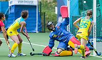 BRUSSEL - Emily Smith (Aus.) scores 4-1    during AUSTRALIA v SPAIN , Fintro Hockey World League Semi-Final (women) . middle  keeper Maria RUIZ (SPA) , left Laura Barden (Aus.) COPYRIGHT KOEN SUYK