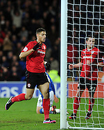 Cardiff city's Rudy Gestede celebrates after he scores his sides goal  to make it 1-2. NPower championship, Cardiff city v Peterborough Utd at the Cardiff city stadium in Cardiff, South Wales on Sat 15th Dec 2012. pic by Andrew Orchard, Andrew Orchard sports photography,