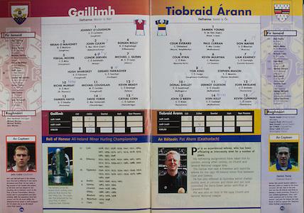 All Ireland Senior Hurling Championship - Final, .12.09.1999, 09.12.1999, 12th September 1999,.12091999AISHCF,.Senior Kilkenny v Cork,.Minor Galway v Tipperary, .Cork 0-13, Kilkenny 0-12,.Galway, 1 Johnny O'Loughlin, Loughrea, 2 Brian O'Mahoney, Loughrea, 3 John Culkin, Abbeyknockmoy, 4 Ronan Reilly, Kilbeacanty, 5 Fergal Moore, Turloughmore, 6 Conor Dervan, Mullagh, 7 Michael J Quinn, Ahenry, 8 Hugh Whiriskey, Craughwell, 9 Gerard Farragher, Castlegar, 10 Richie Murray, St Thomas's, 11 Michael Coughlan, Craughwell, 12 Kevin Brady, Sylane, 13 Damien Hayes, Portumna, 14 David Forde, Clarenbridge, 15 Cathal Coen, Clarenbridge, subs, Ivan Canning, Shane Tierney, Brendan Gantley, Patrick McMahon, Keith Egan, Damien McLoughlin, Kieran Hynes, John Conroy, John O'Connell,..Tipperary,1 Damien Young captain, Drom n Inch, 2 Colm Everard, Moyne Templetouhy, 3 Paul Curran, Mullinahone, 4 Don Maher, Roscrea, 5 Colm Ryan, Moycorkey Borris, 6 Kevin Mulryan, J K Brackens, 7 Liam Kerney, Clonoulty Rossmore, 8 Tom King, Loughmore Castleiney, 9 Stephen Mason, Thurles Sarsfield, 10 Donal Shelley, Ballingarry, 11 Dermot Gleeson, Ballinahinch, 12 Eoin Brislane, Toomevara, 13 John O'Brien, Toomervara, 14 Eoin Kelly, Mullinahone, 15 Kevin Cummins, Toomevara, subs Alan Franks, Martin Maher, Richard Leahy, Liam Brett, Damien Gleeson, Eoin Larkin, Eamonn Ryan, Damien McGrath, Cathal Houlihane,