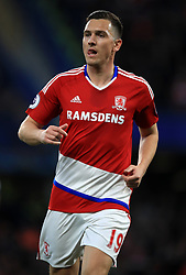 """Middlesbrough's Stewart Downing during the Premier League match at Stamford Bridge, London. PRESS ASSOCIATION Photo. Picture date: Monday May 8, 2017. See PA story SOCCER Chelsea. Photo credit should read: Mike Egerton/PA Wire. RESTRICTIONS: EDITORIAL USE ONLY No use with unauthorised audio, video, data, fixture lists, club/league logos or """"live"""" services. Online in-match use limited to 75 images, no video emulation. No use in betting, games or single club/league/player publications."""