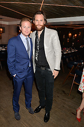 Left to right, GUY PELLY and MARC BURTON at the launch of Geisha at Ramusake hosted by Piers Adam and Marc Burton at Ramusake, 92B Old Brompton Road, London on 11th June 2015.